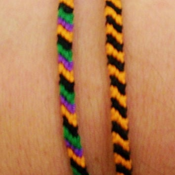 Individual Mini Halloween Themed Candy Stripe Embroidery Friendship Bracelet ~ 3 Different Styles to Choose From