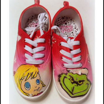 Kids Shoes, Girls Shoes,  Christmas Shoes, Grinch Shoes, Kids Holiday Shoes, Gifts for Kids