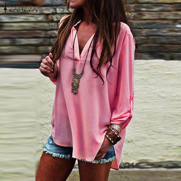 ZANZEA 2017 Summer Women Vintage Blouses Sexy V Neck Long Roll Up Sleeves Solid Shirt Casual Loose Chiffon Blusas Tops Oversized