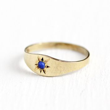 Antique Baby Ring - Vintage 10k Rosy Yellow Gold Star Incised Blue Stone Band - Size 1/2 1930s Art Deco Midi Pinky Children's Fine Jewelry