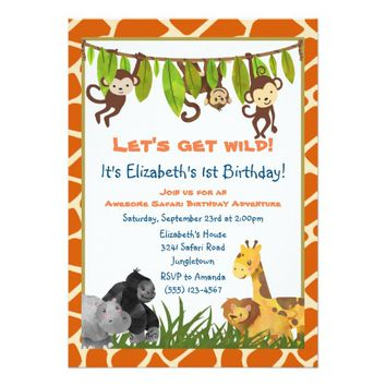 Safari Jungle Animal Theme Birthday Party Invite
