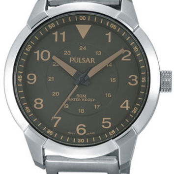 Pulsar Active Sport Mens Watch - Stainless Case and Bracelet - Brown Dial