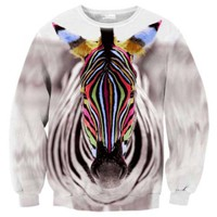Colorful Zebra Face Digital Print Pullover Sweatshirt Sweater   DOTOLY