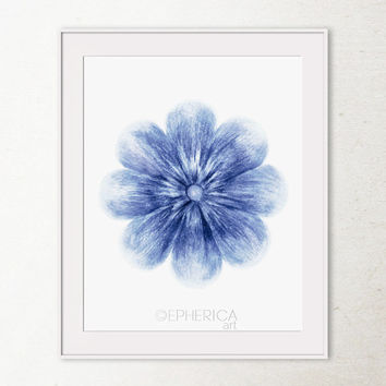 Blue Flower art print, Printable wall art print, Blue home decor Flower wall print, Bathroom decor, Flower wall decor, Blue and white decor