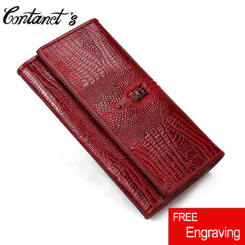 Women Casual Clutch Genuine Alligator Leather Wallets Fashion Female Long Day Clutches Vintage Hasp Coin Purse Card Holder Bags
