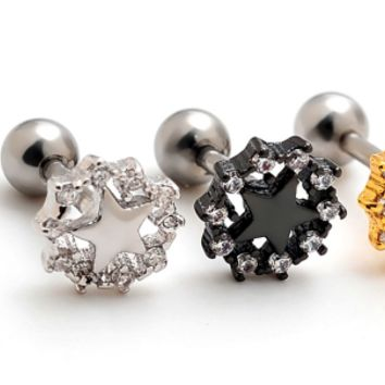 Flower with star zircon earrings Stainless steel antiallergic tragus Earring body jewelry -0427-Gifts box
