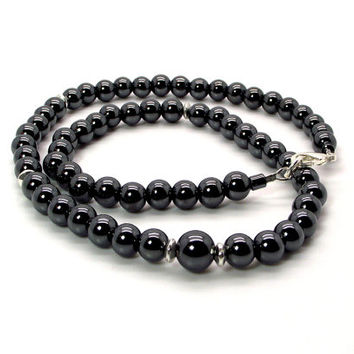 Men's Gray and Silver Necklace – Men's Hematite Necklace – Men's Hematite and Silver Beaded Necklace - Men's Gray Necklace