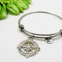 Compass Bangle - Compass Charm Bracelet - Expandable Bangle - Best Friend Bangle - Anchor Bracelet- Initial Bracelet - Nautical Bracelet