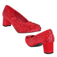 Dorothy Red Sequin Mid Heel Shoes Funtasma