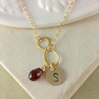 Birthstone Initial Jewelry, Personalized Infinity Necklace, Gold Infinity, Best Friend Gift, Sister Birthday Gift, Chrismas Gift, Eternity