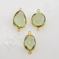 Green Amethyst Quartz Gold Plated Sterling Silver Bezel Station Connector and Charm, 1 piece