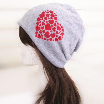 Valentine Oversized Beanie Hat-Light Grey-Baggy Hat- Head Wrap- Slouch Cap-Hippie Hat