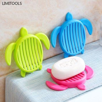 Tortoise shape Plastic Home travel Soap Dishes soap holder soap box with Cover Home bathroom set Cute Soap Dish