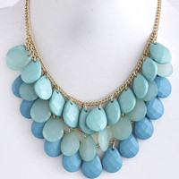 Chunky Tonal Teardrops Necklace - Turquoise | .H.C.B.