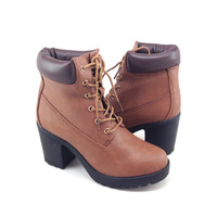 Tan Vegan Leather Work Style Boot with Heel