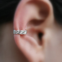 Sterling Silver Ear Cuff Hoop Earring Cartilage/catchless/tragu­s/helix/nose ring