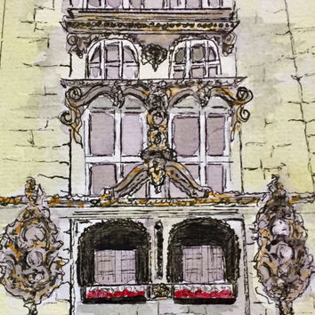 Original watercolor Painting, Architecture Painting, New Orleans Art,  Drawing Pen and ink. Not a print.