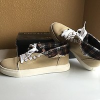 Nude Hi-Top Sneakers With Plaid Lining By Kiss & Tell Size 7.5