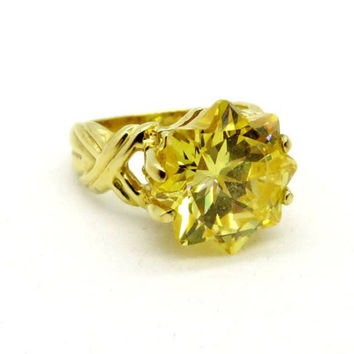 Vintage Citrine CZ Ring, Sterling Silver Gold Plated, Flower Ring, Gift  Size 5