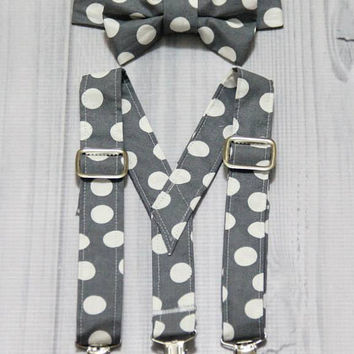 Suspender and Bow Tie Set with gray and white Dots. baby boy. Ring bearer, Photo prop cake smash, wedding, church, everyday wear.