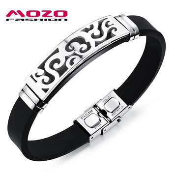 MOZO FASHION Brand Mens Stainless Steel Silicone Bracelet Rubber Wristband Trendy Men Punk Jewelry Accessories Pulseiras MPH1089