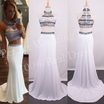 Sexy  2 Pieces Crop Top Beaded Diamond Rhinestones  Prom Dress New Fashion Halter Nice Mermaid Prom Gown Formal Maxi Dress