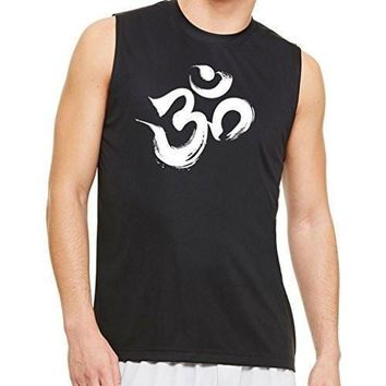 Yoga Clothing for You Mens Brushstroke Aum Om Muscle Tee Shirt