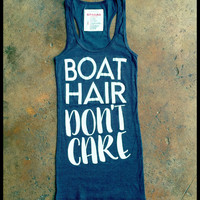 Charcoal grey & white Boat hair don't care racer back tank