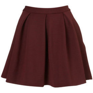 Oxblood Ribbed Pleated Skirt - New In This Week  - New In