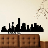 Wall Decals Vinyl Stickers Dallas Texas City Skyline Silhouette Art Home Decor for Living Room C005