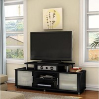 59-inch TV Stand in Pure Black Finish with Frosted Glass