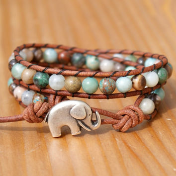 Leather wrap bracelet, double, gemstones mix, Green, Brown, Good Luck charm, silver elephant, trendy boho chic hipster, gift idea, Bohemian