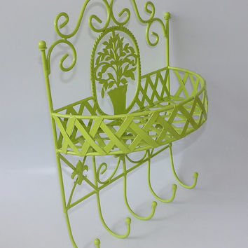 Lime Green Hanging Shelf Hooks Coat Hook Towel Rack Entryway Foyer Wall Hanger Metal French Basket Fleur-de-lis Chartreuse Bathroom Storage