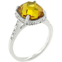 Rose-cut Canary Ring, size : 10
