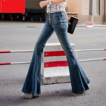 Women High Waist Ripped Denim Jean Taille Haute Wide Horn Jeans Skinny Softener Jean Feminino Luxury Wide Leg Black Jeans Cok021