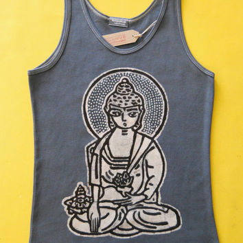 Yoga Meditating Buddha batik ribbed tank top hand painted & hand dyed women grey - Yoga clothes - size  XS, S, M, L, XL, XXL