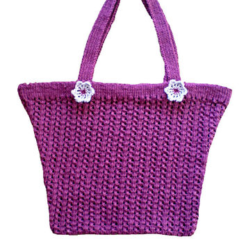 Women's bag, purse with crochet flowers. Handmade, hand knit, hand knitted.
