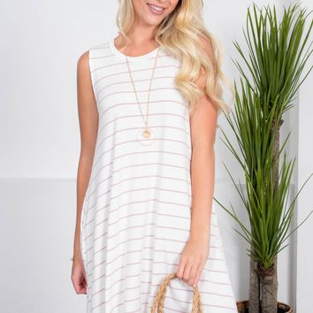 Pretty Pink Striped Pocket Dress