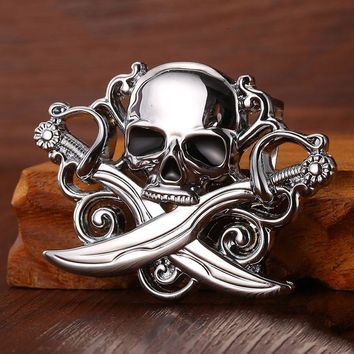 High quality skull belt buckle with metal silver finish Punk rock style Fit 3.5cm snap on belt