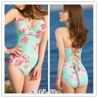 S-XL Green Flower One-piece Swimming Suit SP151999