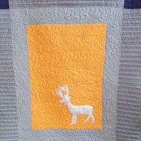 Modern boy crib quilt - 40x48 Deer baby blanket - Grey , blue , and orange throw quilt