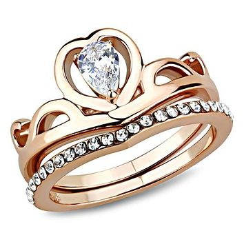 A Perfect 14K Rose Gold .75CT Pear Cut Russian Lab Diamond Bridal Set Ring