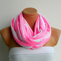 Striped Infinity Scarf, textile neon pink and White Scarf,Loop Scarf,Circle Scarf,Cowl Scarf,Nomad Cowl....Striped Scarf