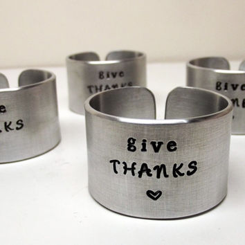 Oh My Metals, Napkin Rings, Give Thanks, Dinnerware, Thanksgiving, Table Decor, New Home, Entertaining, Tableware, Celebration, Set of 4