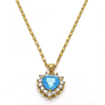 Gold Layered 04.213.0062.18 Fancy Necklace, Heart Design, with White and Blue Topaz Cubic Zirconia, Polished Finish, Golden Tone