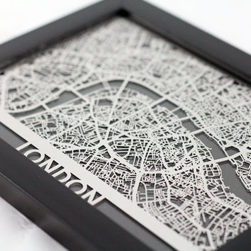 Stainless Steel London England Cut Map