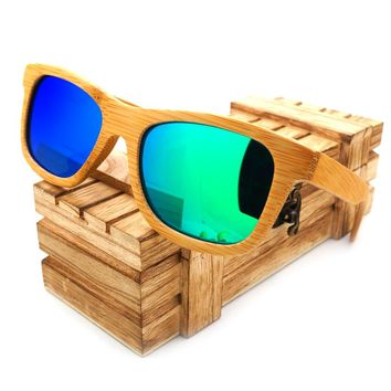 BOBO BIRD Natural Handmade Bamboo Sunglasses Vintage Polarized Mirror Coating