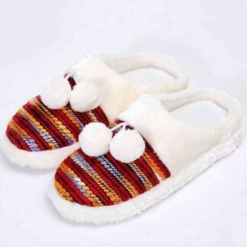 Colorful Cozy Knit Slippers (Orange)