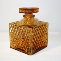 Small Amber Glass Decanter with Stopper, Vintage Bar Ware