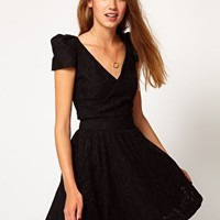 A Wear Big Shoulder Lace Dress at asos.com
